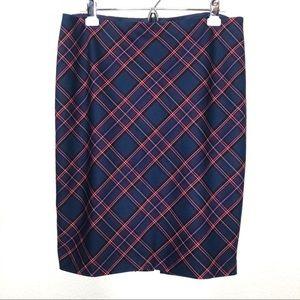 Trina Turk Tartan Plaid Navy Blue Pencil Skirt